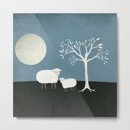 Midnight Sheep Metal Print