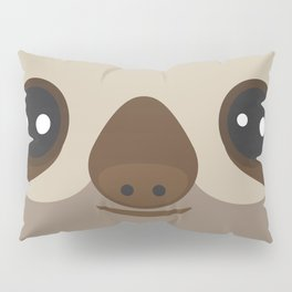 funny and cute smiling Three-toed sloth on brown background Pillow Sham