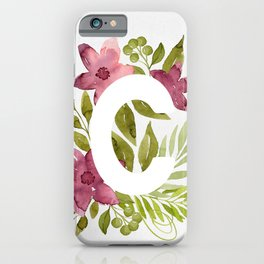 Monogram C with red watercolor flowers and leaves. Floral letter C. iPhone Case