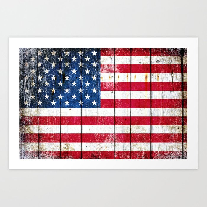 Distressed American Flag On Wood Planks - Horizontal Art Print