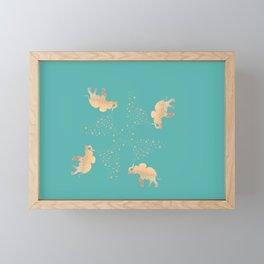 ELEPHANT - GOLD MINT Framed Mini Art Print