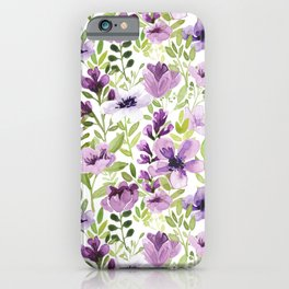 Watercolor/Ink Purple Floral Painting iPhone Case
