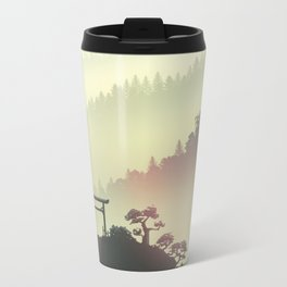 Red sunset in the Japan mountains Metal Travel Mug