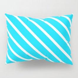 Neon Blue Diagonal Stripes Pillow Sham
