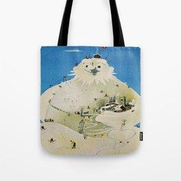 Vintage Adelboden Switzerland Travel Poster - Snowman Tote Bag