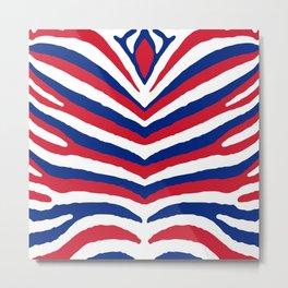 UK British Union Jack Red White and Blue Zebra Stripes Metal Print