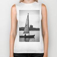 sailboat Biker Tanks featuring Sailboat by Jill Deering Creative