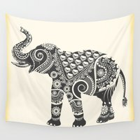 ornate elephant Wall Tapestries featuring Elephant by famenxt