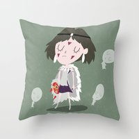 princess mononoke Throw Pillows featuring Princess Mononoke by Rod Perich