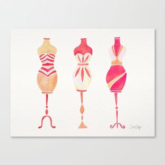Vintage Dress Forms – Pink Ombré Palette Canvas Print