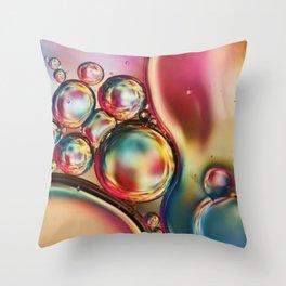 Bubblicious Rainbow Abstract Throw Pillow