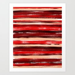 Red and Peach Pastel Stripe Pattern Abstract Art Print