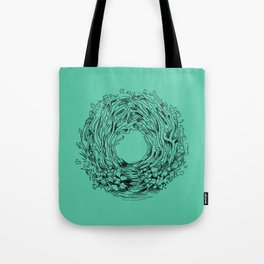 Forest Turquoise Circle Nature Flow Tote Bag