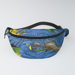 Hyacinth Macaws and bananas Stravaganza (black background). Fanny Pack