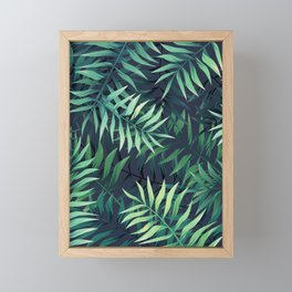 Elegant Tropical Green Leaves Framed Mini Art Print