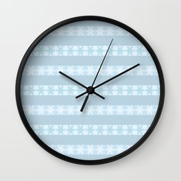 Snow Flakes On Blue Wall Clock