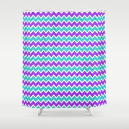 Teal and Purple Chevron Shower Curtain