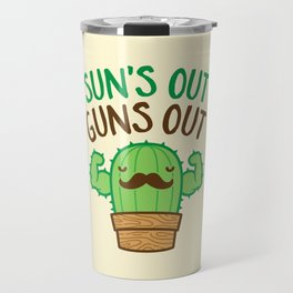Sun's Out Guns Out Macho Cactus Travel Mug