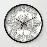 military Wall Clocks featuring Military Peacock by Vicki Jones