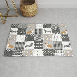 Corgi Patchwork Print - grey, dog, buffalo plaid, plaid, mens corgi dog Rug