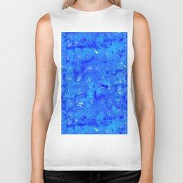 Tie Dye Shibori Water Cubes in Ocean Blue Biker Tank