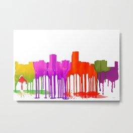 Omaha, Nebraska Skyline - Puddles Metal Print