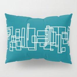 Architecture Stripe - Minimalist Mid Century Modern Geometric Pattern in White and Deep Teal Blue Pillow Sham
