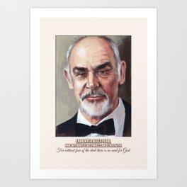 Art Portrait & Quote: Sean Connery Art Print