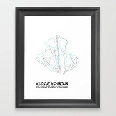 Wildcat Mountain, NH - Minimalist Trail Art Framed Art Print