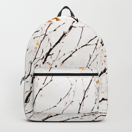 Snowy birch twigs and leaves Backpack