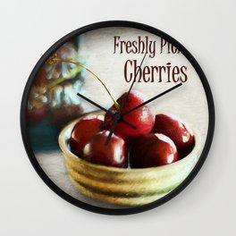 Freshly Picked Cherries Wall Clock