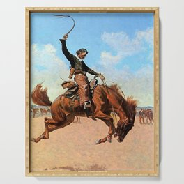 """Frederic Remington Western Art """"The Buck Jumper"""" Serving Tray"""