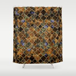 Quatrefoil Moroccan Pattern Brown Labradorite Shower Curtain