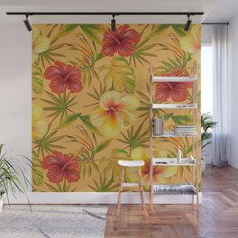 Leave And Flowers Pattern Wall Mural