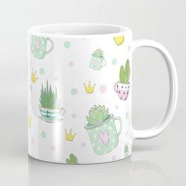 Pattern Of Succulents, Cactus, Crowns, Tea Cups Coffee Mug