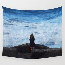 Ocean lover, meditation in front of the sea Wall Tapestry