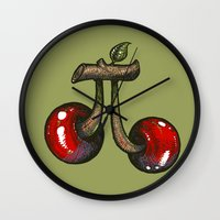 pie Wall Clocks featuring Cherry Pie by Carlos Rocafort