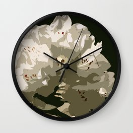 White Rhododendron In The Sun Wall Clock