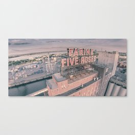 Montreal Skyline - Aerial View of Farine Five Roses  Canvas Print