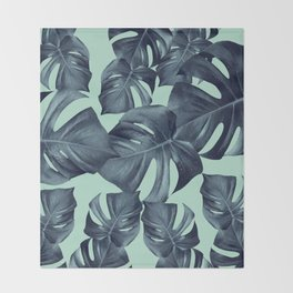 Monstera Leaves Pattern #10 #tropical #decor #art #society6 Throw Blanket