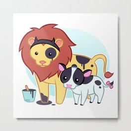 Lion Cow Metal Print