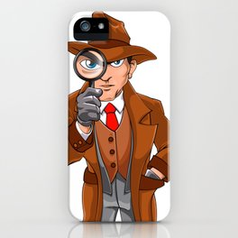 detective looking through magnifying glass iPhone Case