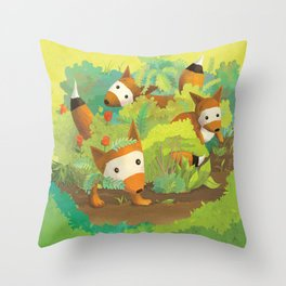 Babies in Bushes Throw Pillow