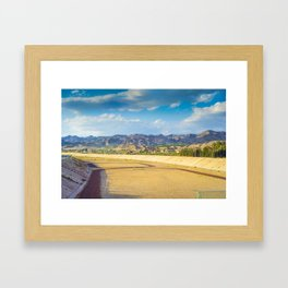 A football field on the mountains on the background A quiet and beautiful place for a football game Framed Art Print