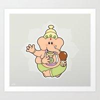 ganesha Art Prints featuring Ganesha by Andrés Diplotti