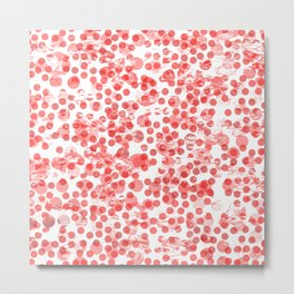 Cherry Polka Dots Distressed Metal Print