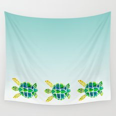 Swimming Baby Sea Turtles Wall Tapestry