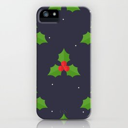 Red Christmas Mistletoe Pattern iPhone Case