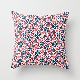 Ziggy Floral Red White and Blue  Throw Pillow