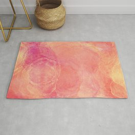 Fiery Red Abstract Painting - Pink, Red and Yellow Texture Rug